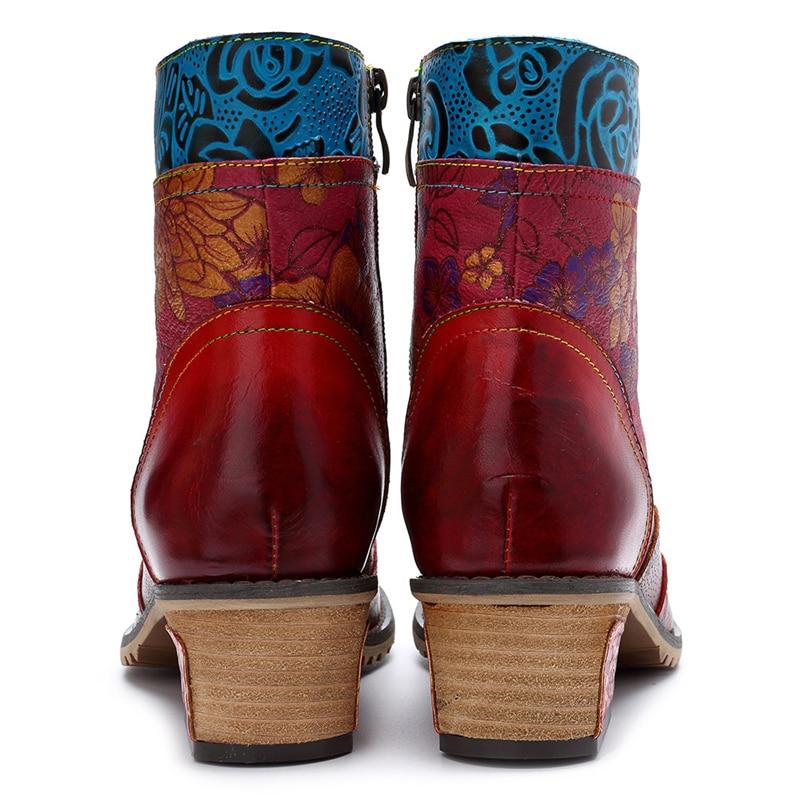 MStacchi Rcasual Vintage estilo étnico cuero genuino mujeres botas de cremallera tobillo botas primavera Patchwork flores zapato impreso-in Botas hasta el tobillo from zapatos    3