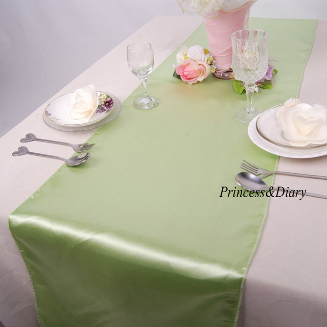 5 Pieces Apple Green Color Satin Table Runner 12inch X 108inch (30cm X  275cm)