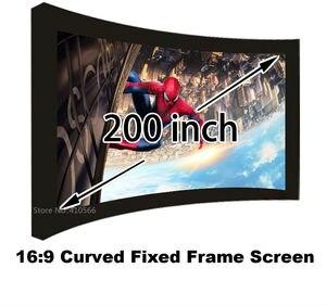 Изогнутые 3d-проекционные экраны, HD экран 200-дюймового формата 16:9 с черной бархатной алюминиевой рамой 80 мм