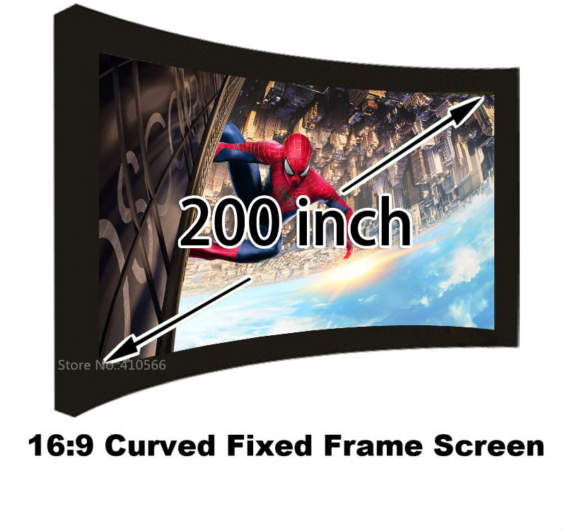 HD Projector Screen 200inch 16:9 Format Curved Fixed 3D Projection Screens With 80mm Black Velevt Aluminum Frame low price 92 inch flat fixed projector screen diy 4 black velevt frames 16 9 format projection for cinema theater office room