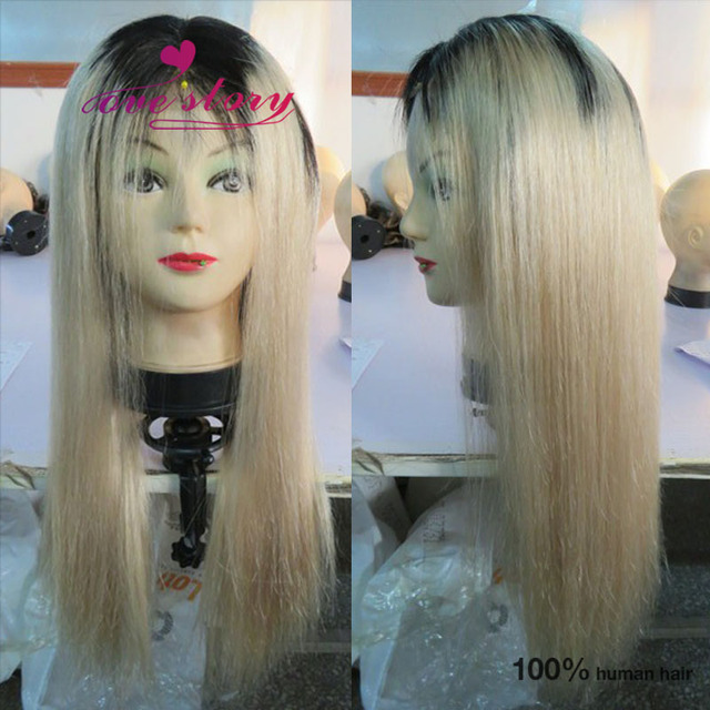 Platinum blonde ombre straight human hair wig full lace  front lace wigs  dark roots blonde wig 130% density natural hairline 249ac36fc22d