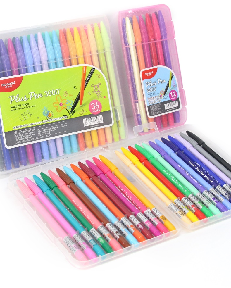 Monami plus caneta 3000 aguarela 122436 cores gel caneta 0.3mm ponta de fibra para a escola
