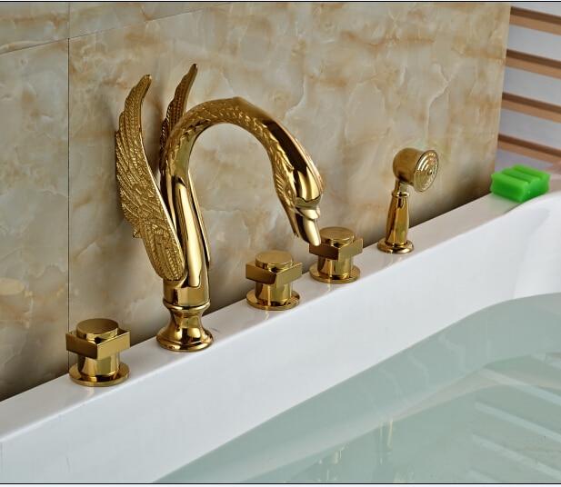 ᗐGolden Finish Three Handle Bathtub Faucet Widespread 5PCS Faucet ...