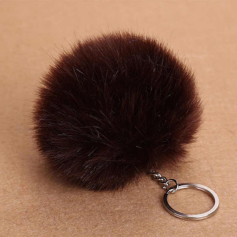 Gran oferta borla pompón llavero de coche colgante Bola de piel llavero de piel de conejo llavero de piel de felpa