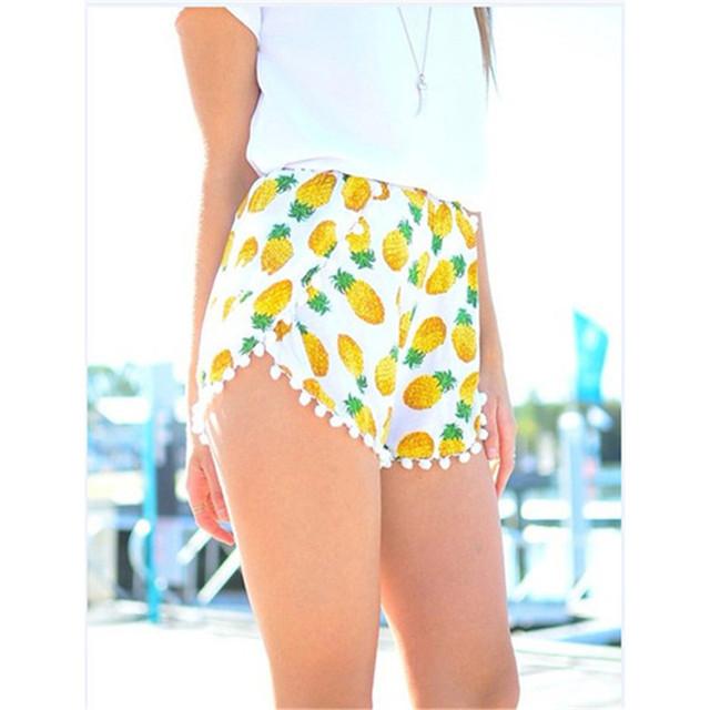2017 Ananas Imprimer Pom Pom Taille Haute Shorts Femmes Taille Élastique D'été Shorts Occasionnels Vente Chaude KH659107