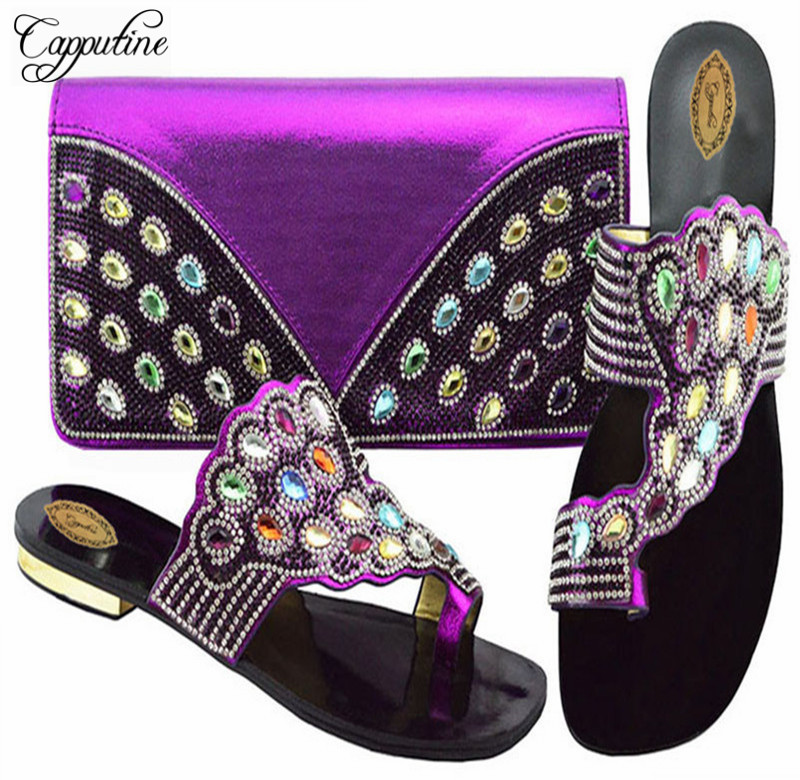 Capputine Summer Rhinestone Slipper Shoes And Bag Set Fashion Low Heels Purple Shoes And Bag Set For Party Size 38-43 YKC001 itlian style rhinestone slipper shoes and matching bag set new africa high heels shoes and bag set for party size 38 43