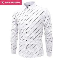 2017 New Fashion Qulity Men's Stripe Men's Long Sleeved Shirt Mens Casual Shirt ,M-4XL ,G4102