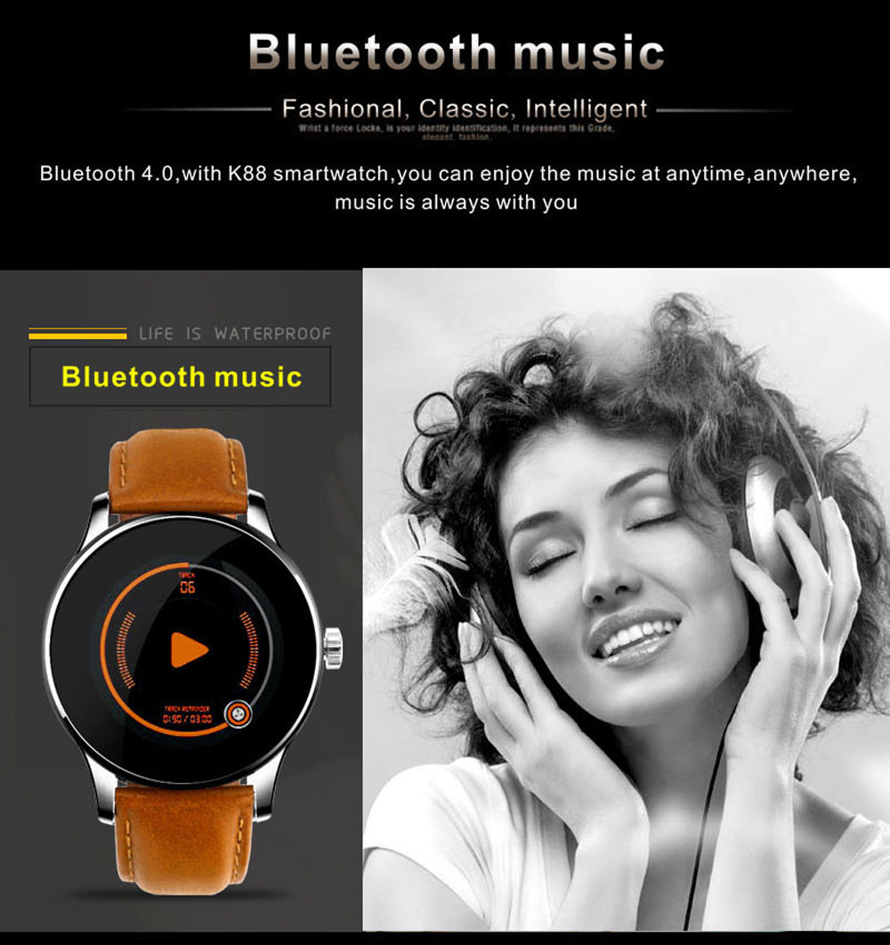 Makibes K88H Bluetooth Smart Watch Classic Health Metal Smartwatch Heart Rate Monitor for Android ISO Phone Remote Camera Clock 15