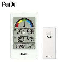FanJu FJ3356 Digitale Termometro Igrometro Stazione Meteo Orologio Da Parete Senza Fili di Allarme del Sensore di Comfort di Visualizzazione del Puntatore Orologio Da Tavolo