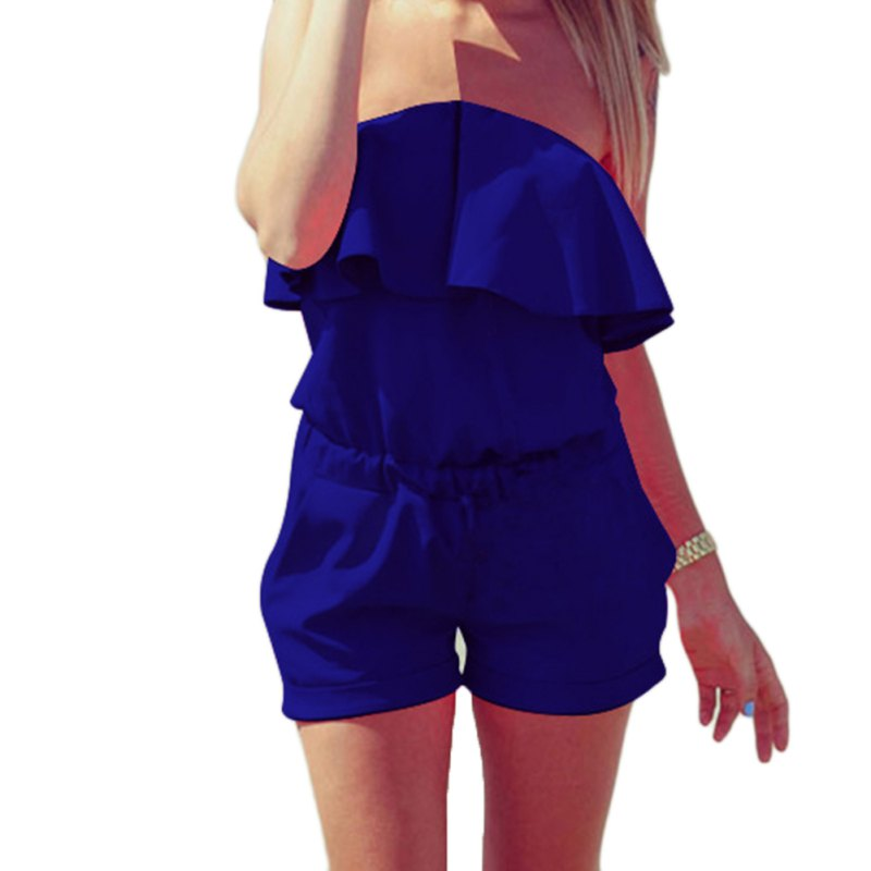 Summer Women Bra Leaf Lace Elastic Rompers and Jumpsuit Sexy Strapless Solid Candy Color Summer Short