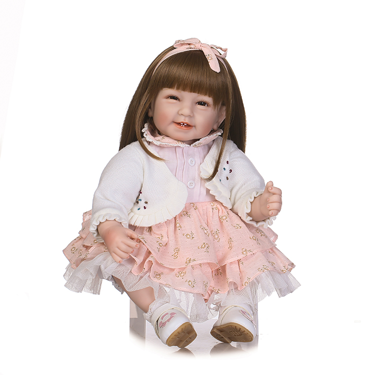 55 cm Smiling Bebes Reborn Girl Doll with Shoulder Length Brown Hair 22 Princess Dressed Girl Doll Birthday Xmas Gifts and Toys