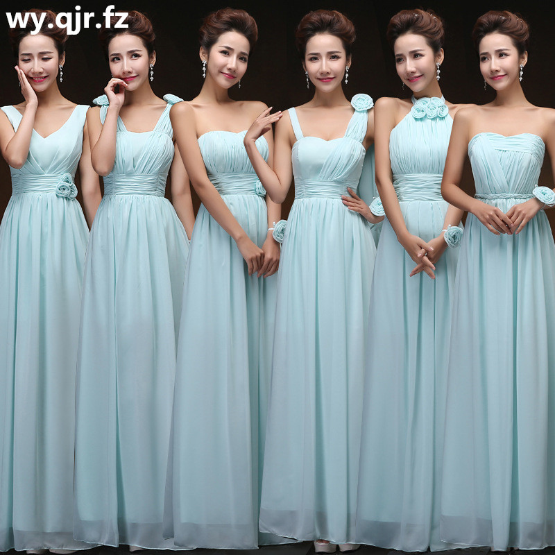 QNZL70Z#V-neck Lace Up Chiffon Purple Champagne pink blue   Bridesmaid     Dresses   Long wholesale Custom wedding party   dress   Flower