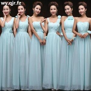 Image 2 - QNZL70Z # V neck Lace Up Chiffon Viola Champagne rosa blu Abiti Da Damigella Donore Lunga del commercio allingrosso da sposa Su Misura vestito da partito fiore