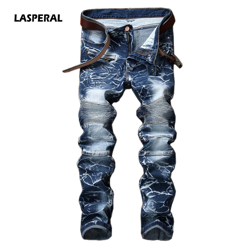 LASPERAL 2017 New Tide Blue Motorcycle Denim Men Jeans Nostalgia Personality Casual Straight Trousers Fashion Pants Size 29-42 wireless control car strobe light bar 30 led police warning lights emergency strobe lights dc 12v 30inch red blue white amber