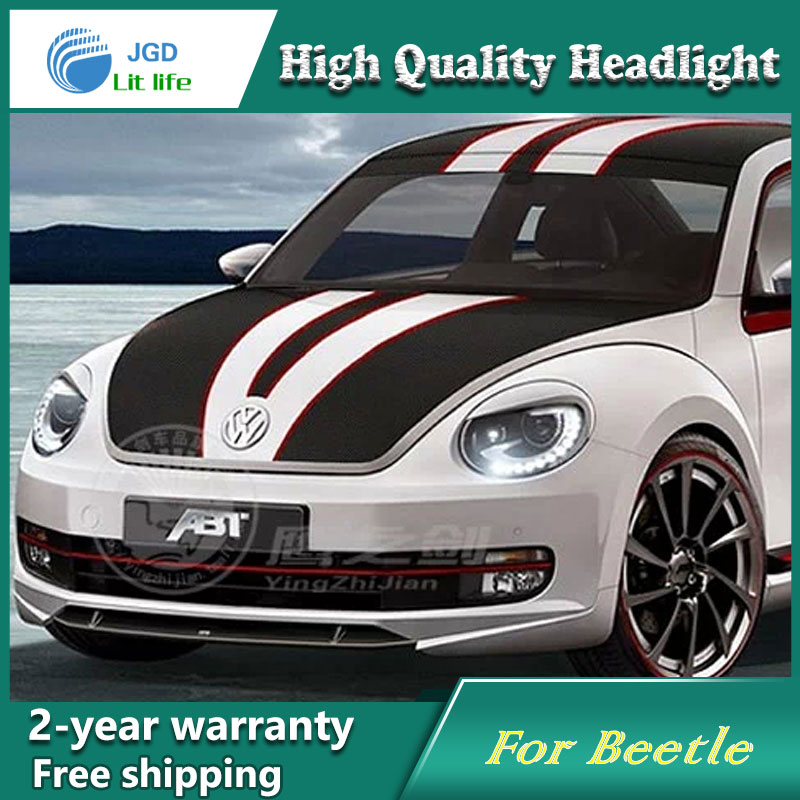 все цены на high quality Car styling case for VW Beetle 2013 2014 Headlights LED Headlight DRL Lens Double Beam HID Xenon Car Accessories онлайн