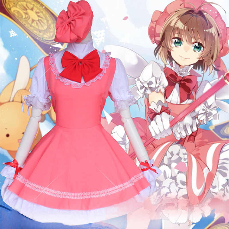 Card captor Sakura Cosplay Lolita Maid Kleid Sakura Card Captor Sakura Kinomoto Cosplay Japan Uniform Anime Kostüm