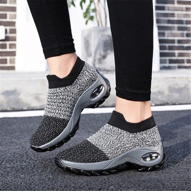 Ilkbahar Sonbahar Kadın Çizmeler Çorap Ayakkabı hava yastığı Rahat spor ayakkabı Bayanlar Çorap Botları Açık Ayakkabı Kadın yürüyüş ayakkabısı