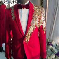 Персонализированные красный модная мужская блестки костюмы конструкции этап певцов мужчины кисточкой Блейзер Танцы тонкий одежда куртка