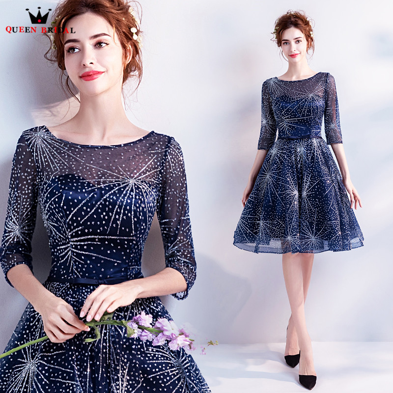 QUEEN BRIDAL Evening Dresses 2018 Sequin Half Sleeve Short Blue Luxury Women Prom Party Dress Evening