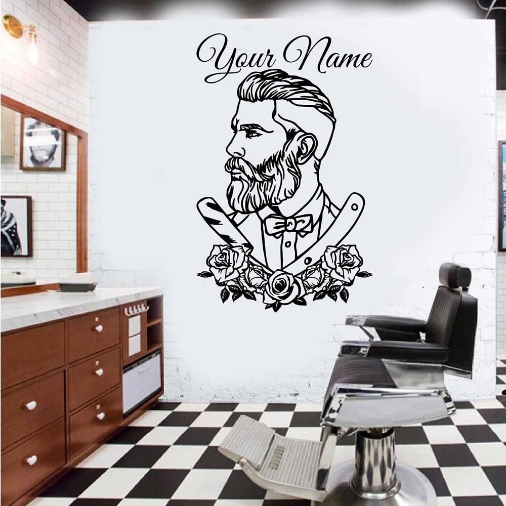 Home Decor Store Names: Custom Barber Hair Shop Name Wall Window Sticker
