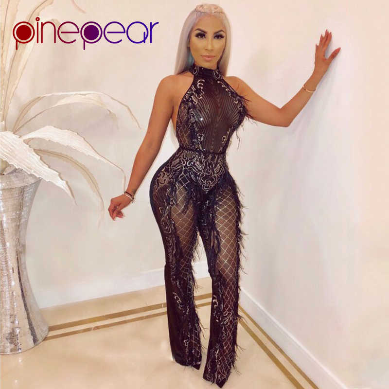 1cd8fd784469 PinePear 2019 HIGH FASHION Feather Tassel Sequin Mesh Jumpsuit Women  Sleeveless Backless Halter Sexy Club Rompers