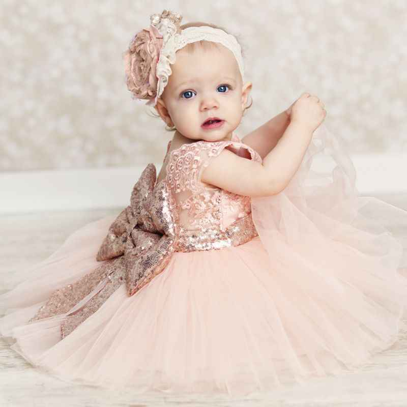 Princess Kids Baby Flower Girls Bow Sequins Tulle Tutu Dress Party Wedding Gown