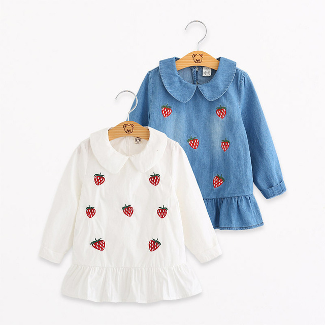 41df768d6 Cartoon Children Jeans Dress Baby Girls Cotton Leisure Strawberry ...