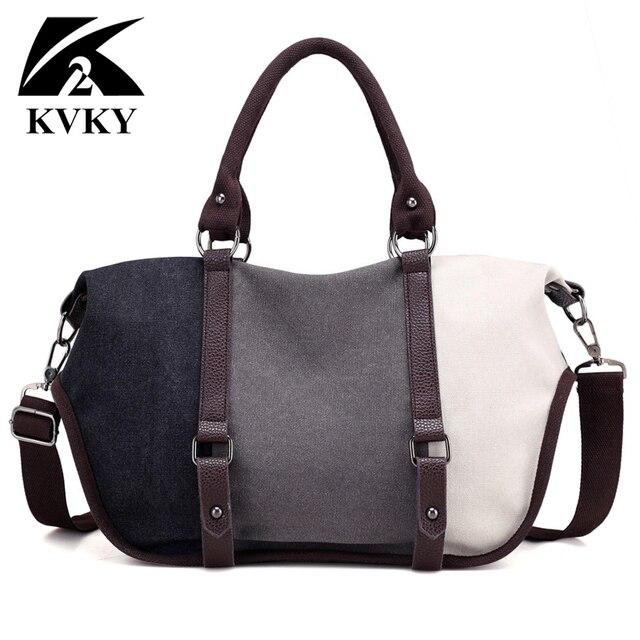 KVKY Women Canvas Bag Handbag Famous Brand Large Capacity Patchwork Tote Bag Hipster Classic Hobos Vintage Shoulder Travel Bag