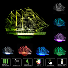Ship Amazing 3D Optical Illusion Touch Night Light LED Desk Lamp Art Piece with 7 changing Colors for Decoration & Gifts