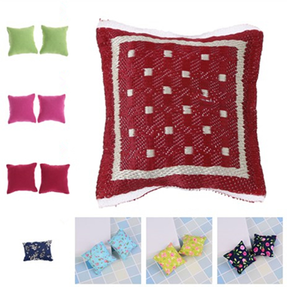 1/2/3Pcs New Colorful Flower Pillow Cushions For Sofa Couch Bed For 1/12 Dollhouse Miniature Furniture Toys For Barbie Dollhouse