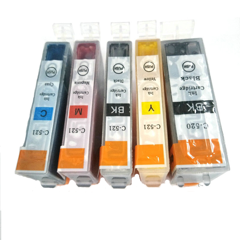 Vilaxh 5pcs PGI 520 pgi-520 CLI 521 <font><b>Ink</b></font> <font><b>Cartridge</b></font> for <font><b>Canon</b></font> MP540 MP550 MP560 MP620 <font><b>MP630</b></font> MP640 MP980 MP990 MX860 MX870 image