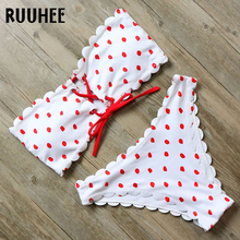 RUUHEE Bikini Swimsuit Swimwear Women Push Up Bathing Suit Bandeau Solid Bikini Set 2018 Female Beachwear With Pad Swim suit