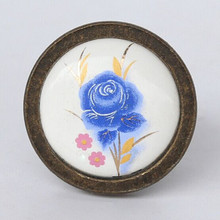 fashion retro rural ceramic furniture knobs antique brass  bronze cabinet dresser handles knobs blue flower ceramic drawer knobs