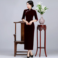 Winter Warm Mandarin Collar Mother Dress Women Velvet Long Solid Qipao Vintage Chinese Style Plus Size Cheongsam S 3XL 4XL