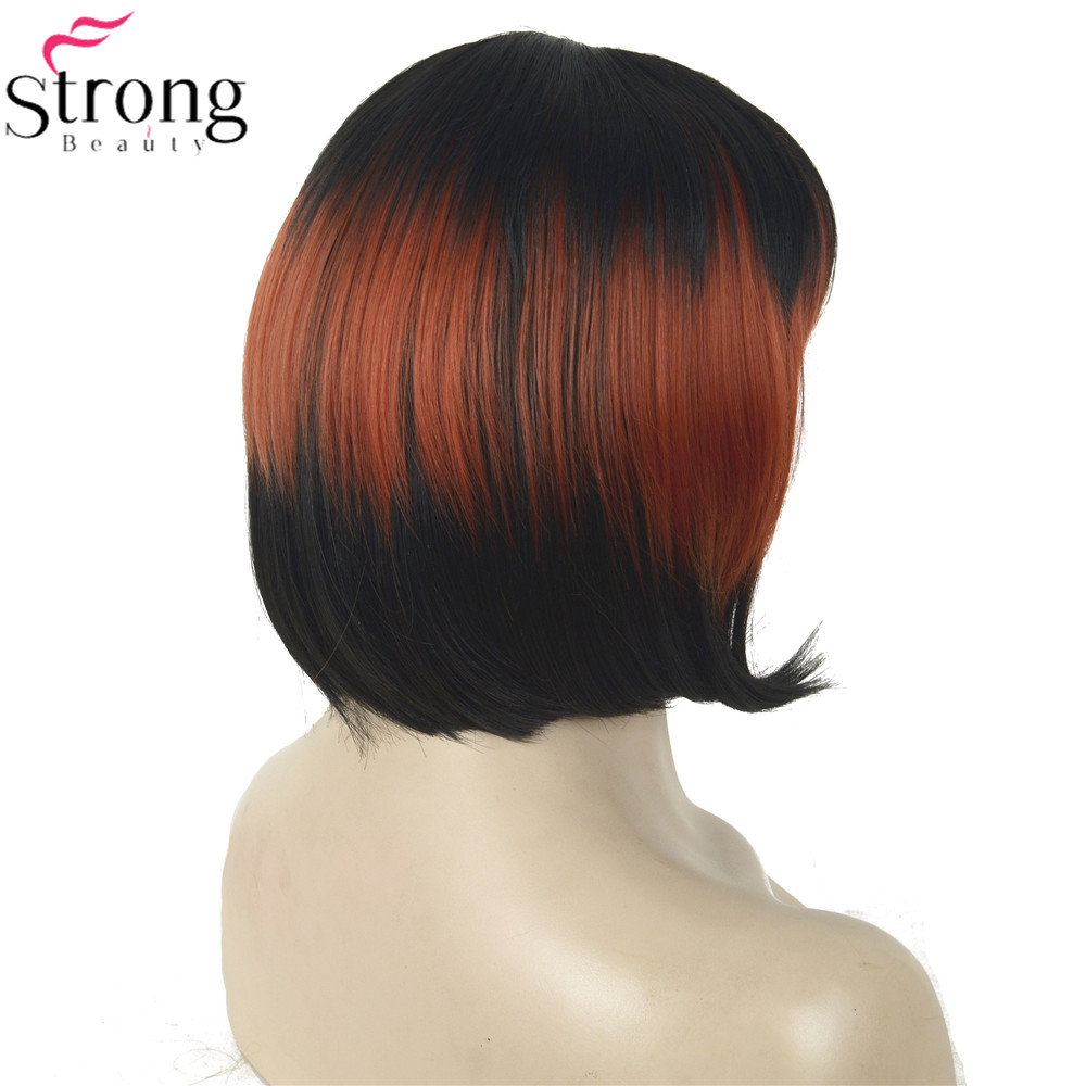 Image 5 - StrongBeauty Cosplay Wig Red/Black Mix Neat Bang Bob Haircut Womens Synthetic Wighaircuts womenwig redwig wig -