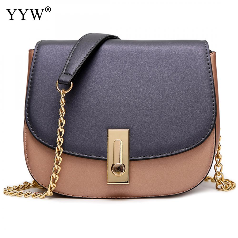 YYW Women Leather Bags Shoulder Bag Designer Patchwork  Chain  Evening Party Clutch Bag Purse Hit Color Bolso Fiesta luxury gold silver evening purse women pink pu leather pearl hand bag chain shoulder clutch bags handbag bolso handtassen xa841h
