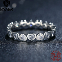 Authentic 100 925 Sterling Silver Love Heart Forever More Stackable Rings For Women Compatible With Sterling
