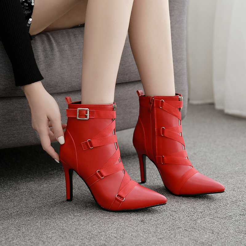 NIUFUNI 2019 High Heels Women 39 s Ankle Boots PU Buckle Zipper Solid Color Pointed Toe Fashion Short Boot Casual Shoes Sexy Pumps in Ankle Boots from Shoes