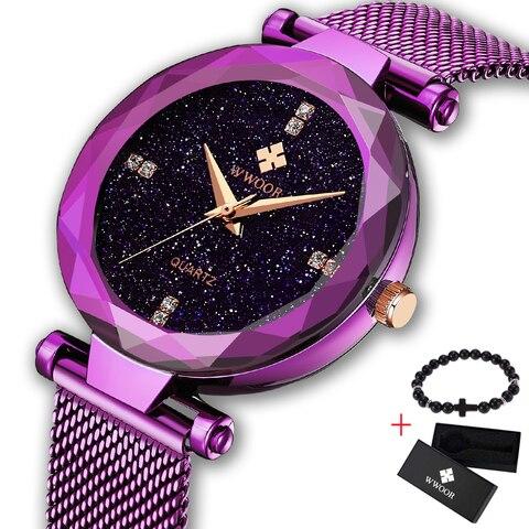 Relógios com Strass Malha de Aço Relógio de Pulso Vestido de Quartzo Clássico Senhoras Moda Feminina Relógio Wwoor Feminino Presente