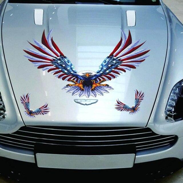 2017 Car Decal Flying Hawk Auto Truck Hood Side Eagle USA Flag ...
