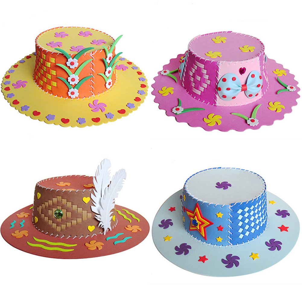 Cute Diy Flower Hat Sun Cap Eva Child Art Craft Kits Handmade Imagination Creative Educational Toys Kindergarten For Kids Gift Famous For Selected Materials Novel Designs Delightful Colors And Exquisite Workmanship