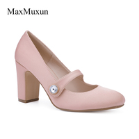 Maxmuxun Woman Mary Jane Shoes Square Heel Buckle Strap Closed Toe Diamond Party Pumps Sexy Sweet