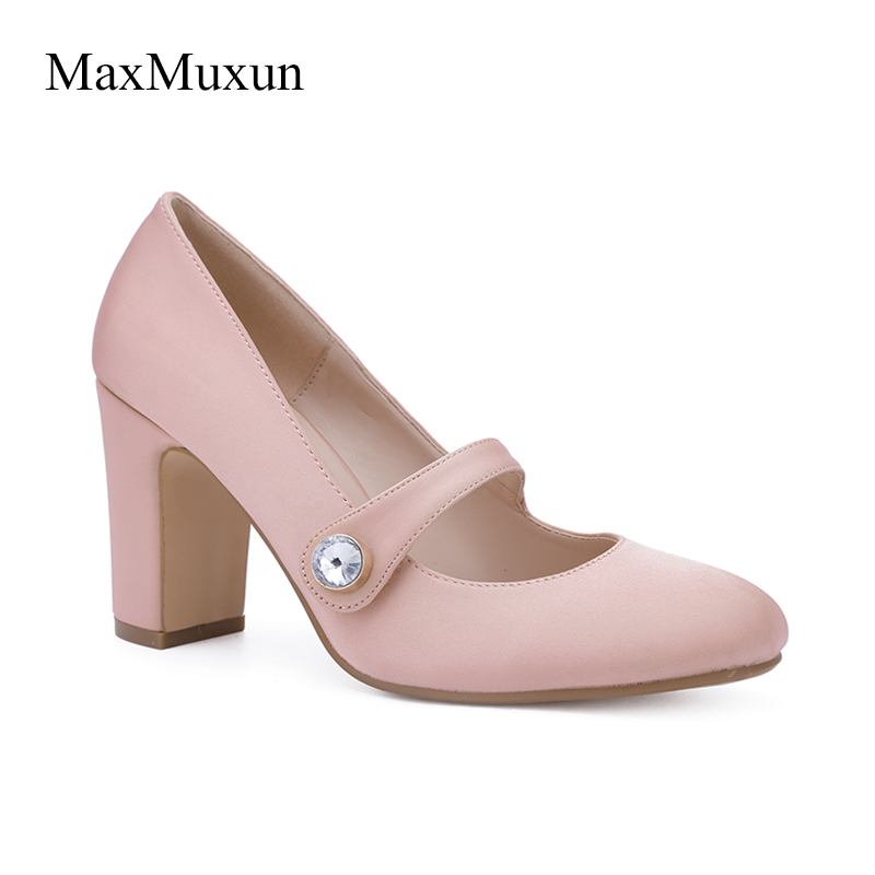 Maxmuxun Woman Mary Jane Shoes Square Heel Buckle Strap Closed Toe Diamond Party Pumps Sexy Sweet Elegant Pink Black Court Shoes карабин black diamond black diamond rocklock twistlock