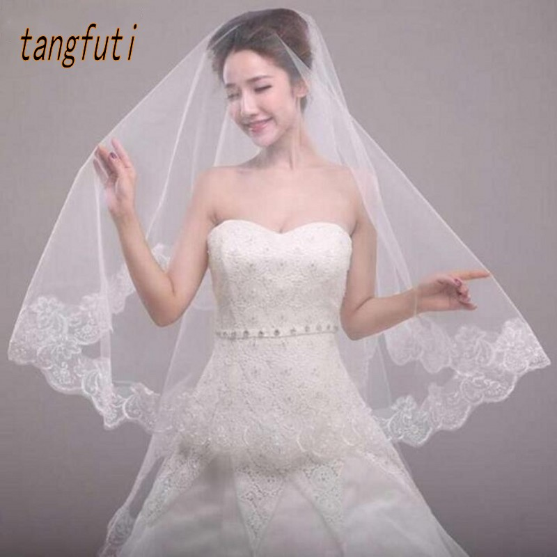 White Ivory Red Short Cheap Wedding Veils Appliques Fashion Bridal Veil Voile De Mariee Velos De Novia Voile Mariage DuvakLJJ124