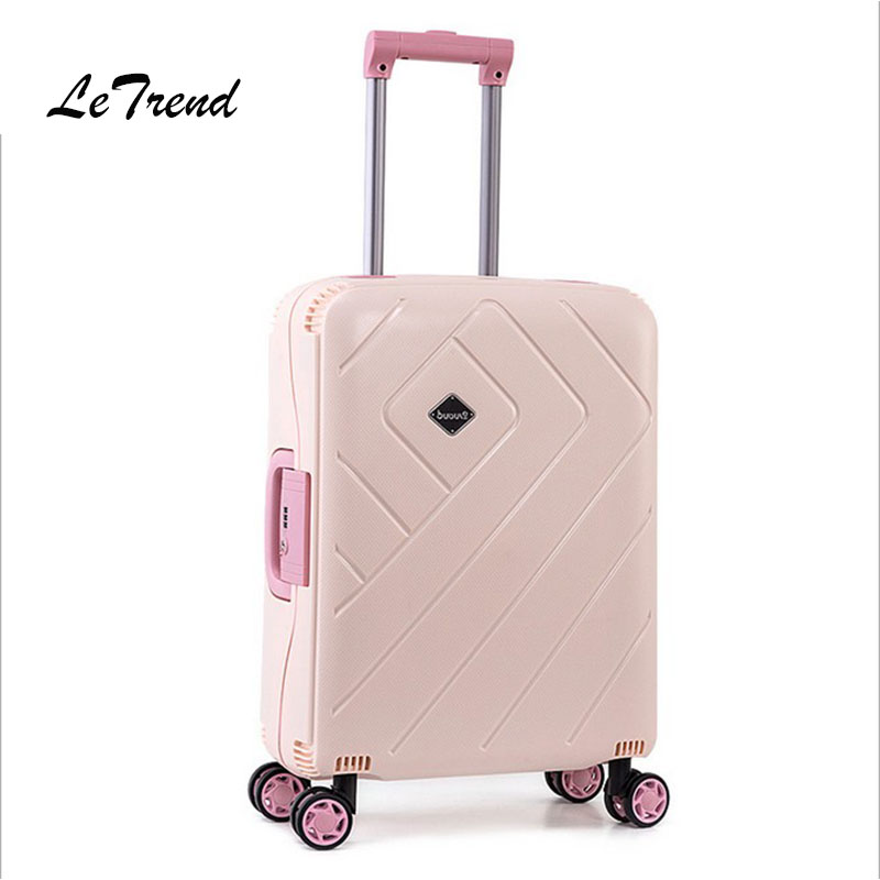 Letrend Women Suitcases Wheel Rolling Luggage Spinner Pink password Travel Bag 20 inch Cabin Trolley Fashion Women's Bags la kore короткое платье