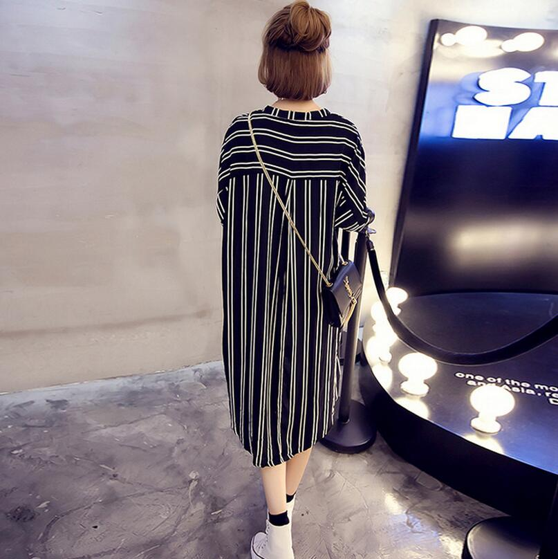 Pretty Girl Korean Striped Dress Big Sizes 5XL Loose fitting Vestido Casual  Slim Cotton Dress Summer Dress EZ356-in Dresses from Women s Clothing on ... f932576419f9