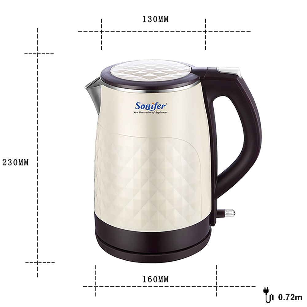 1.8L 304 Stainless Steel Electric Kettle Cordless 1850W Household Kitchen Quick Heating Electric Boiling Tea Pot Sonifer