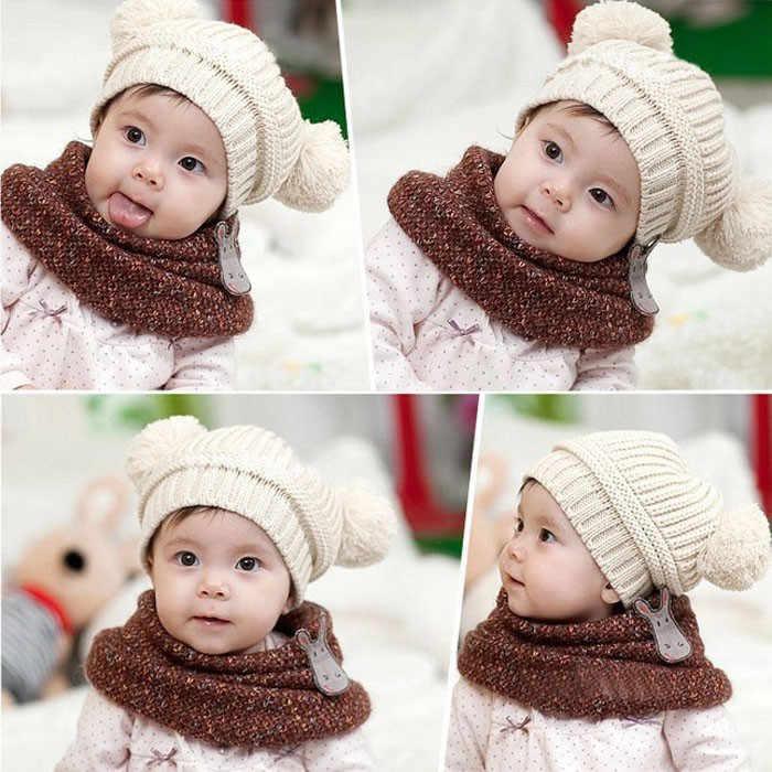 Marcas de moda Otoño ganador lindo bebé niños niña doble bolas cálido invierno gorro de punto Beanie al por mayor y gota envío