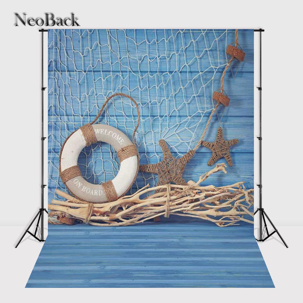NeoBack 3x5ft Vinyl Cloth Wood Floor Photography Backgrounds Studio Summer Photo Props Photo Backdrops 90x150cm Blue decoration