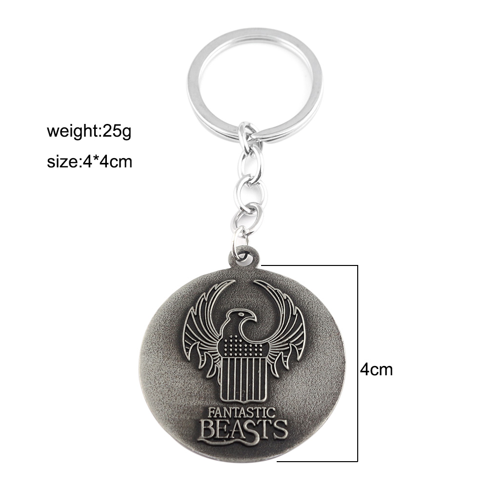 Fantastic Beasts Letter Logo keychain Grindelwald Blood League owl pendant  two sides bird fashion keyring free ship